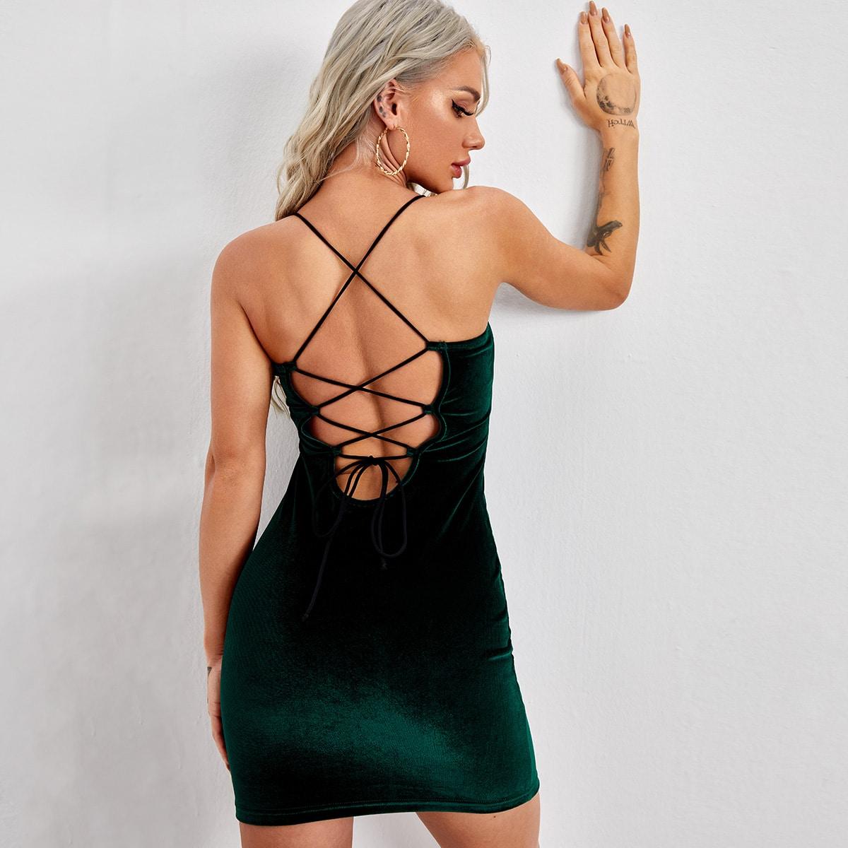 Бархатое облегающее платье с открытой спиной на шнурках SheIn swdress07201126486