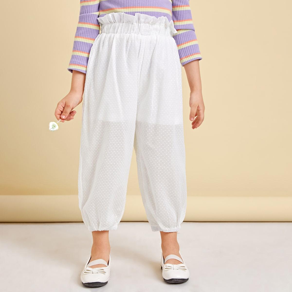 Присборенная талия одноцветный повседневный брюки для маленьких девочек