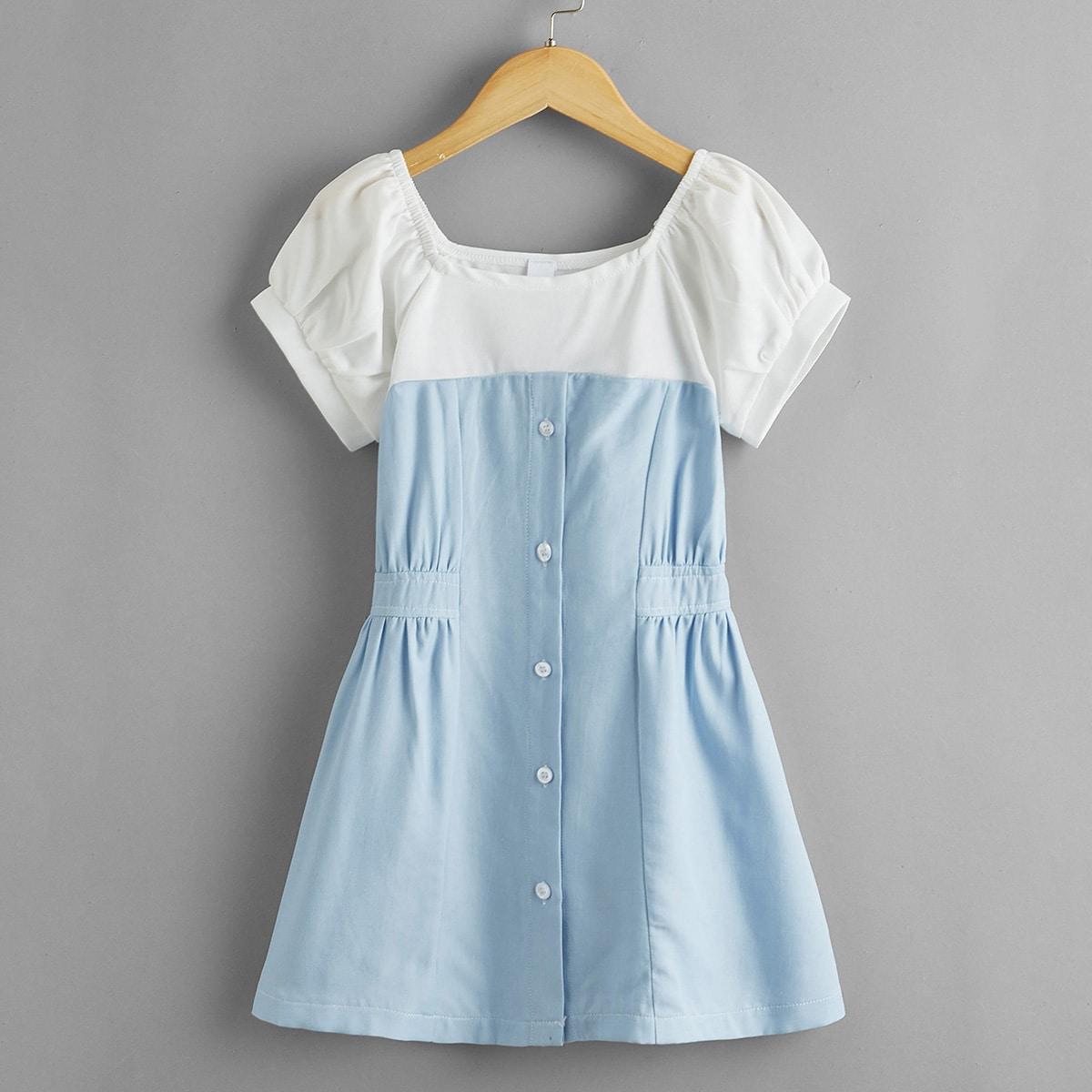 Пуговица контрастный цвет повседневный джинсовые платья для девочек