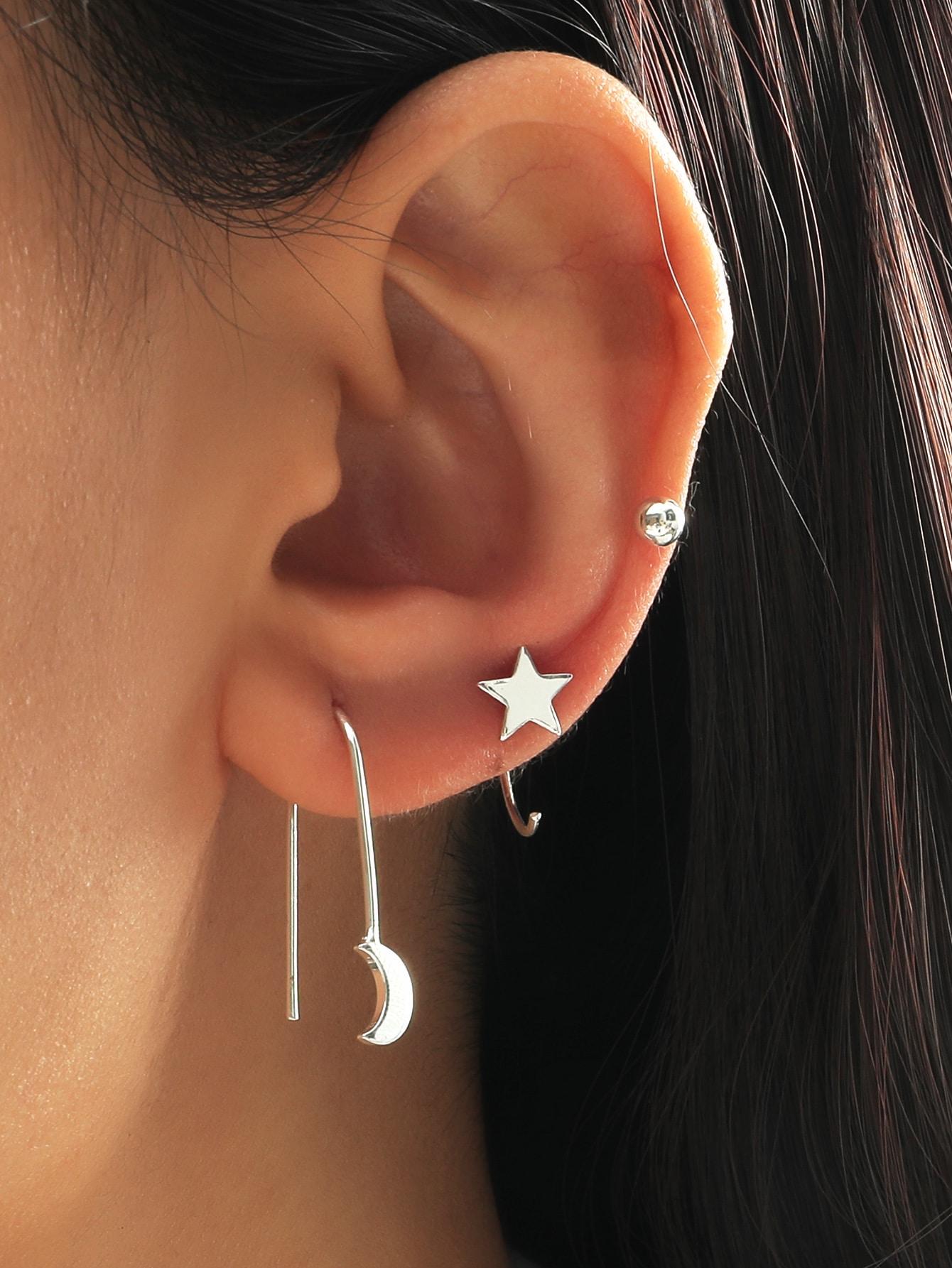3pcs Star & Moon Design Earring thumbnail