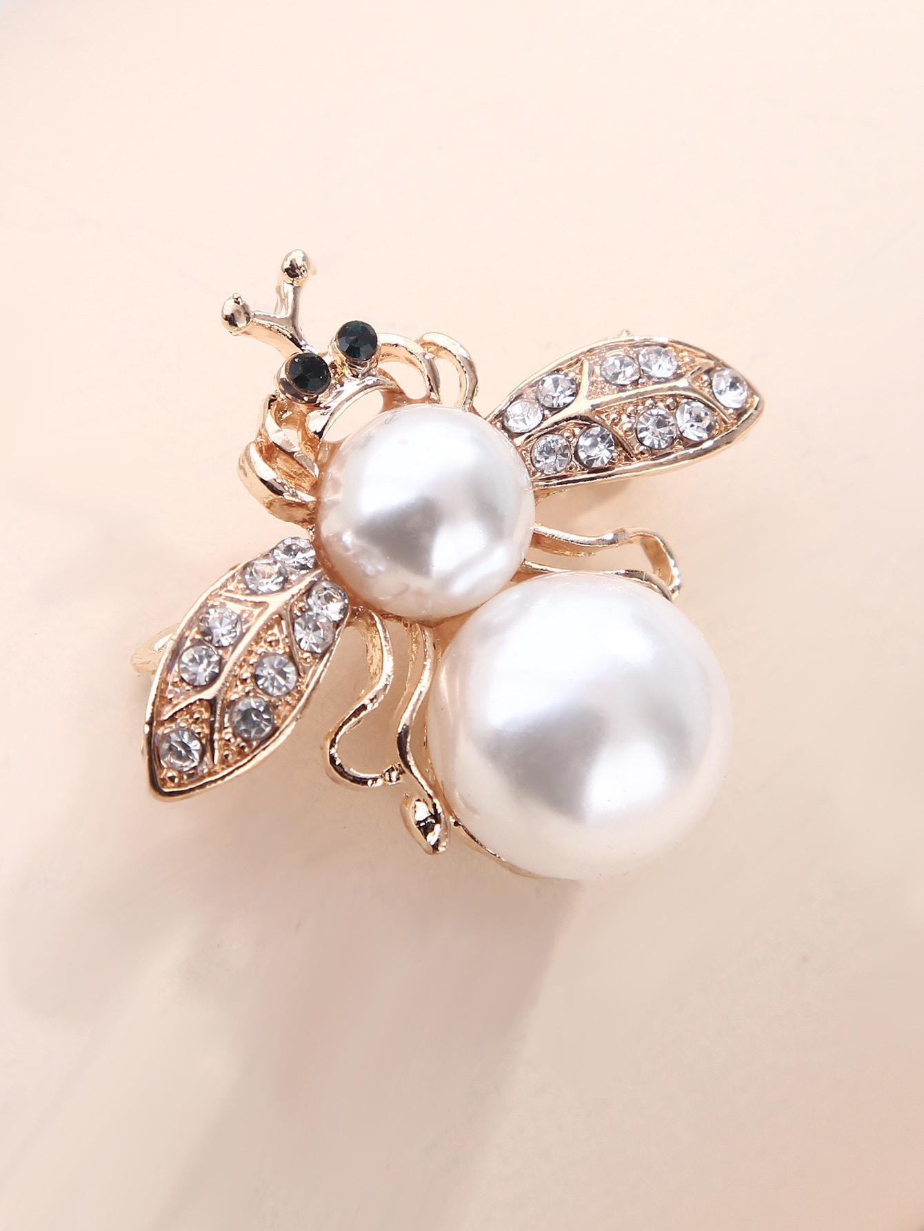 Faux Pearl & Rhinestone Decor Bee Design Brooch thumbnail