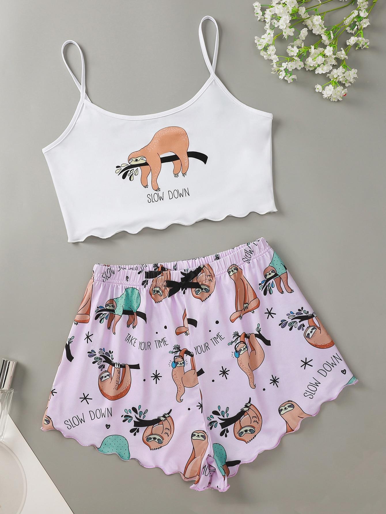 Slogan And Cartoon Graphic Cami Pajama Set thumbnail