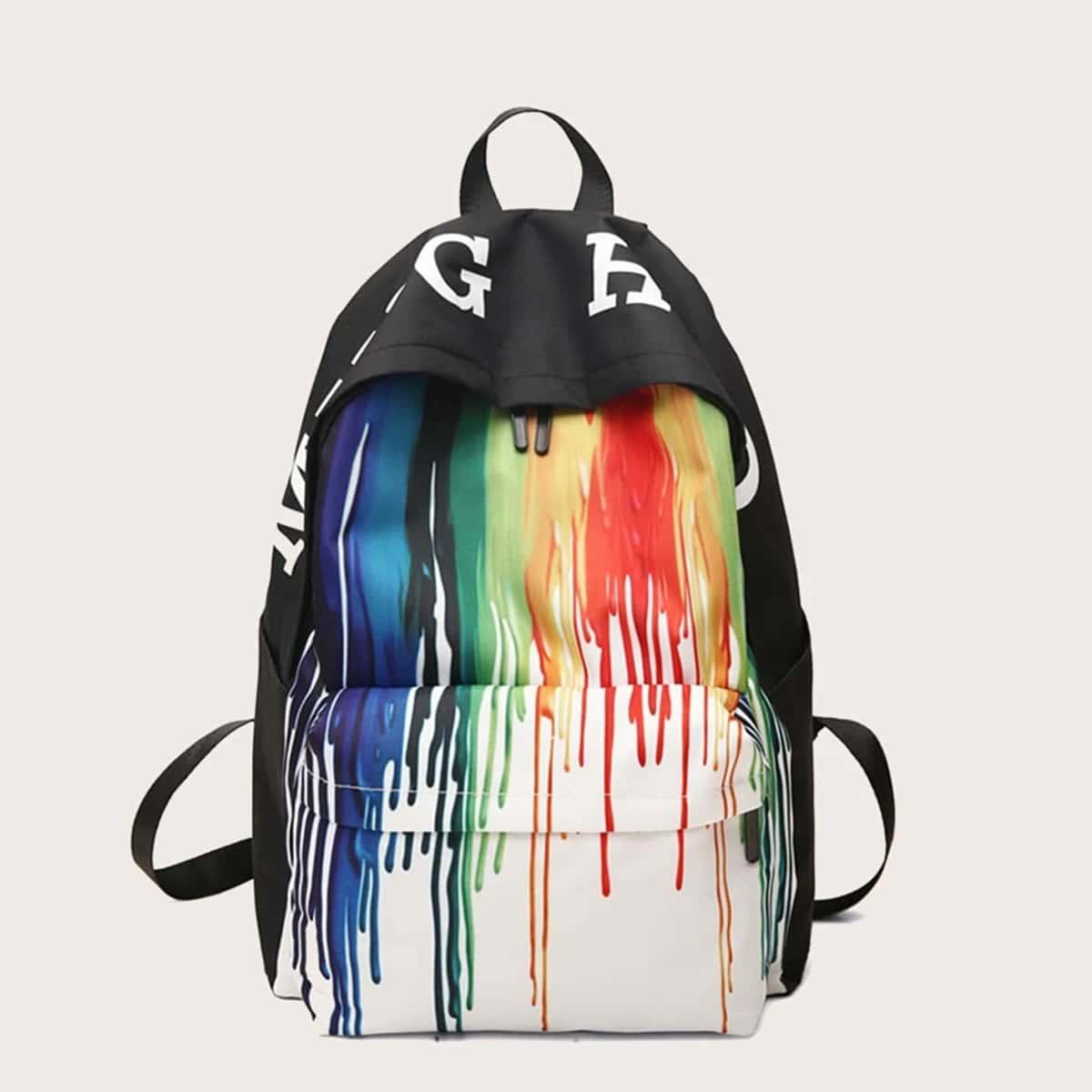 SHEIN / Men Water Color Pocket Front Backpack