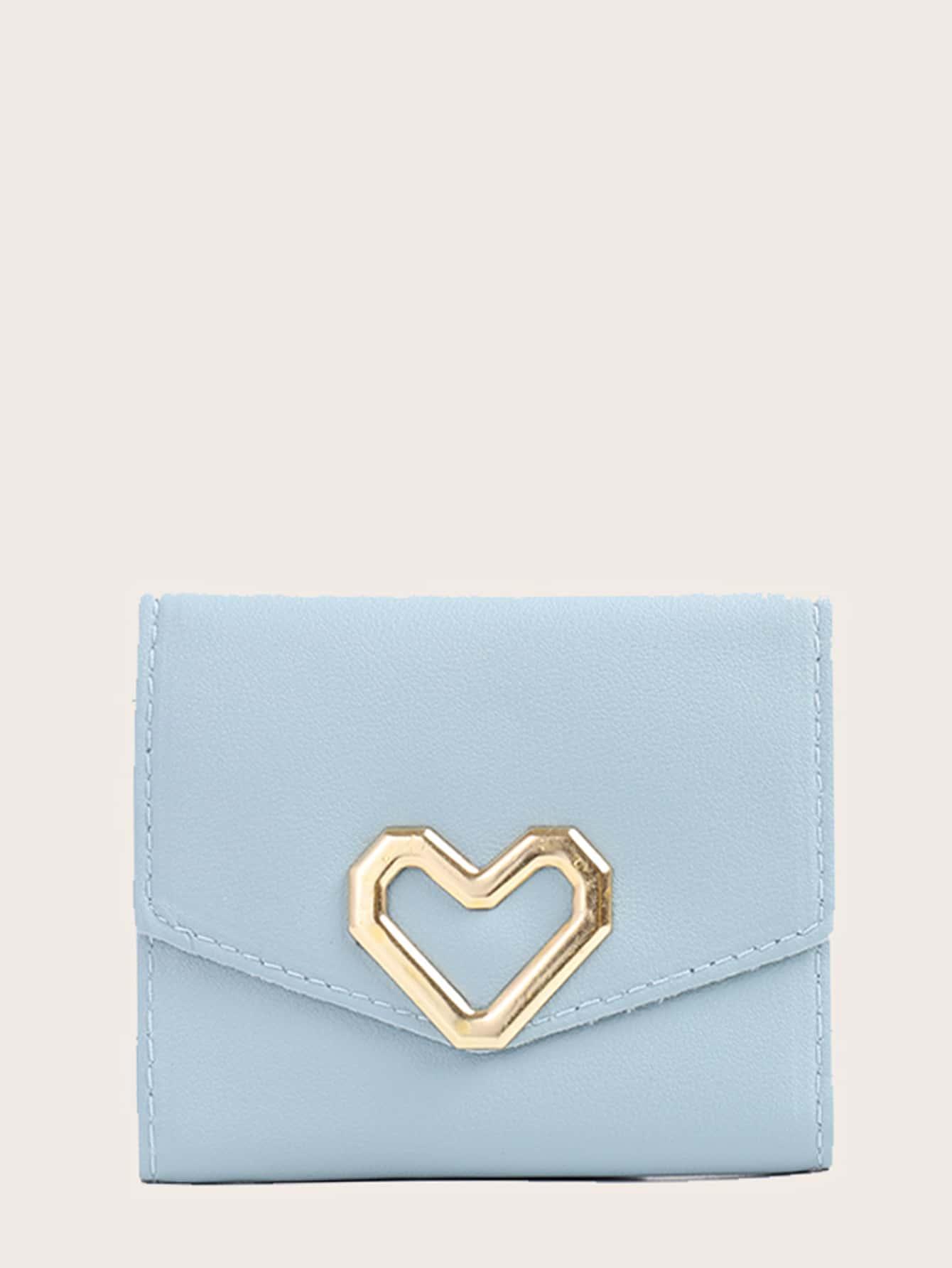 Metal Heart Decor Fold Over Small Wallet thumbnail