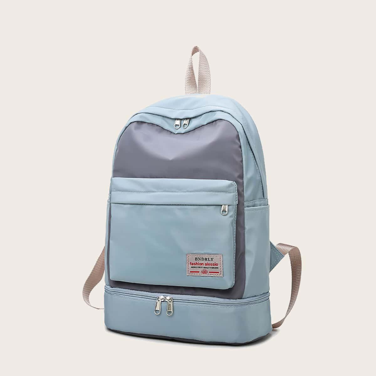 SHEIN / Color Block Pocket Front Sport Backpack