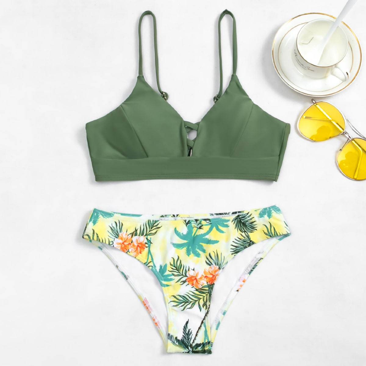 SHEIN / Floral & Tropical Crisscross Bikini Swimsuit