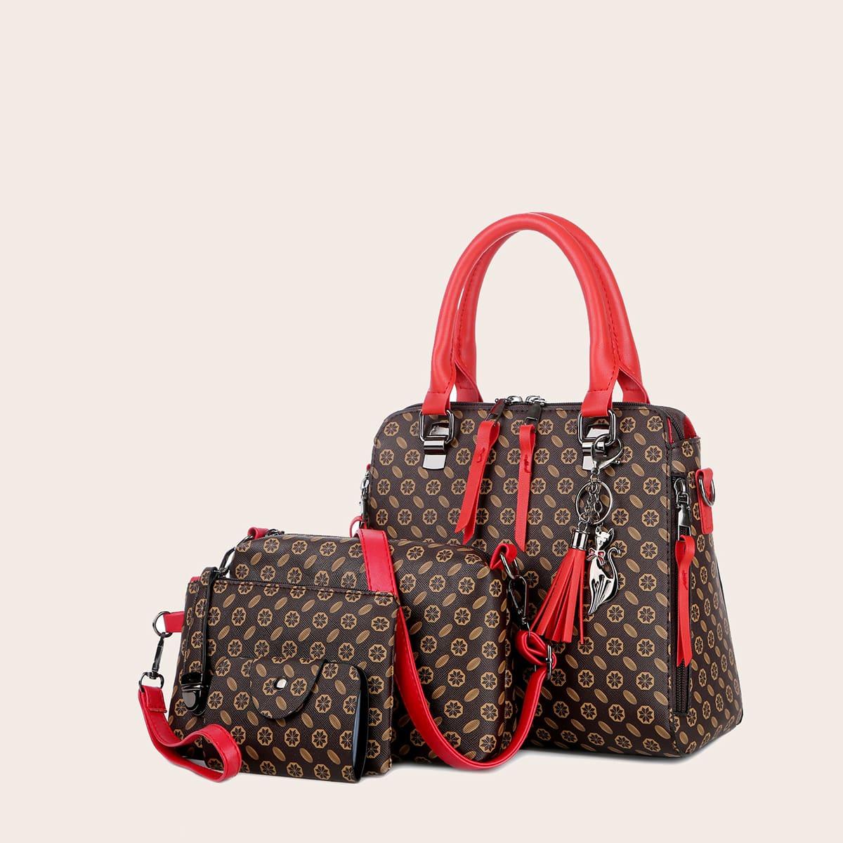 4шт набор сумок с принтом и бахромой