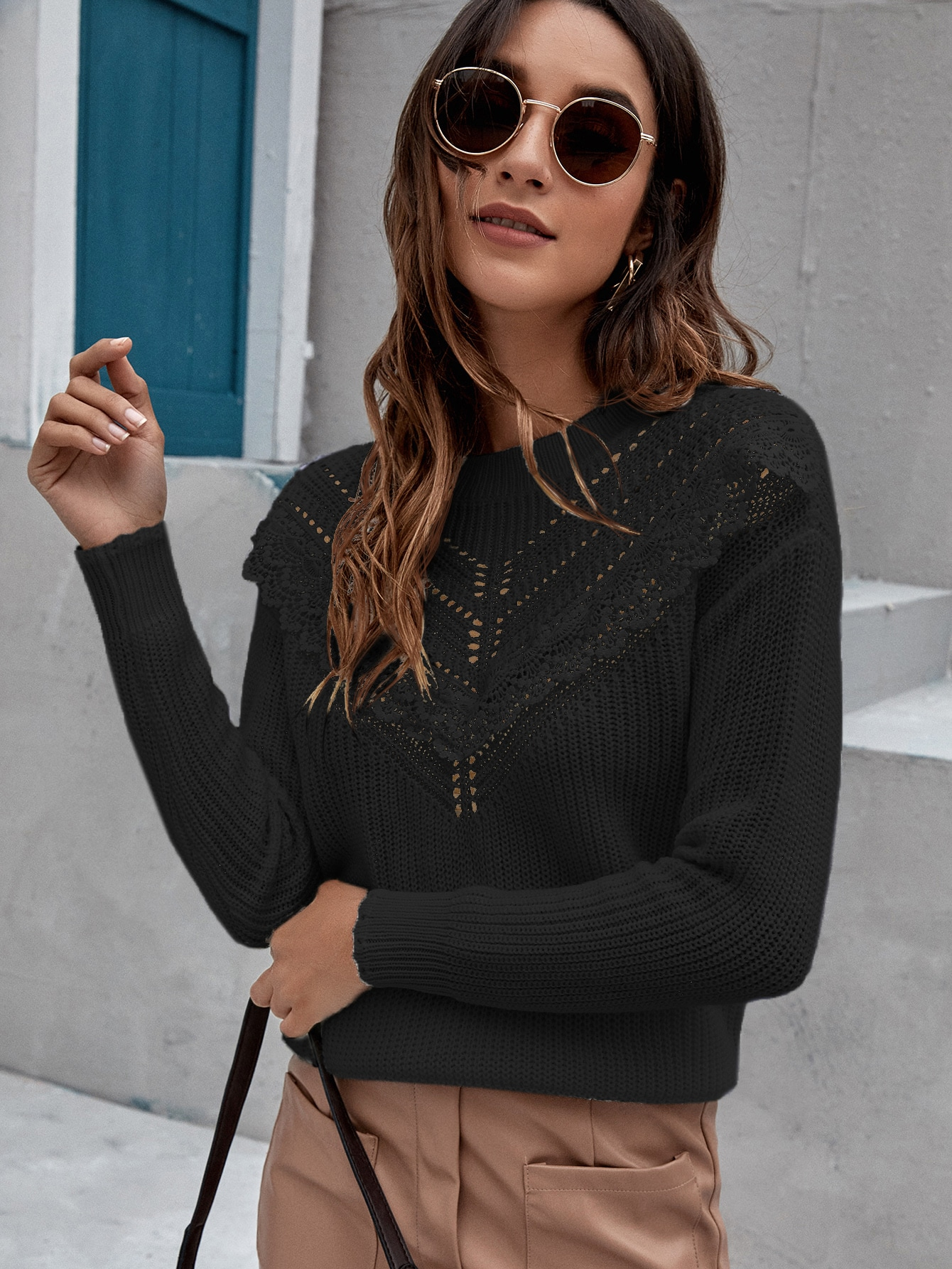 Lace Panel Hollow Out Sweater thumbnail