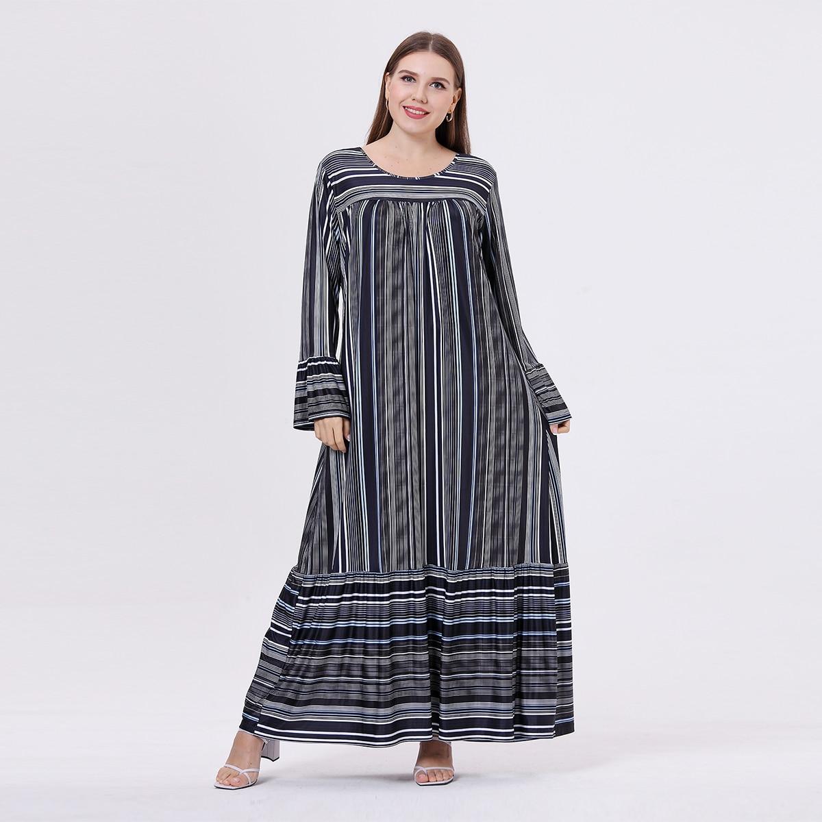 С оборками Полосатый Повседневный Платья размер плюс по цене 1 176