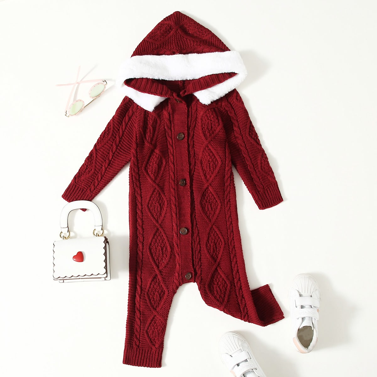 Baby Girl Button Front Hooded Cable Knit Jumpsuit