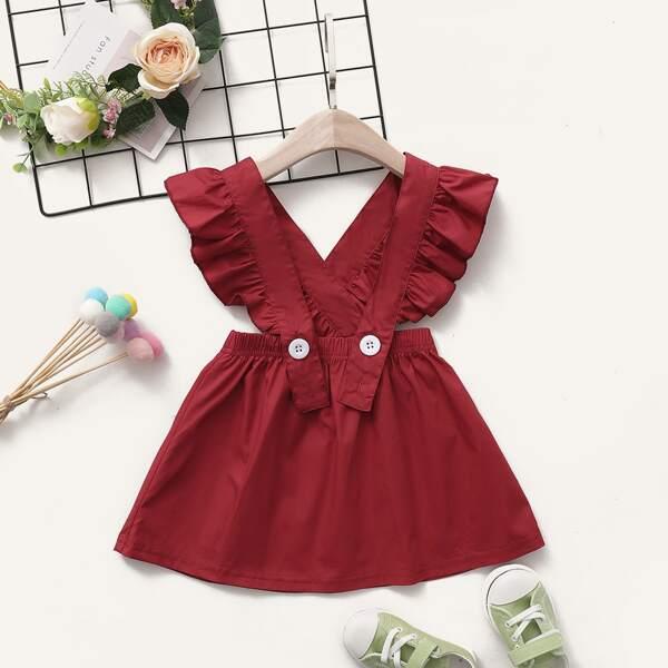 Baby Girl Ruffle Trim Overall Dress, Burgundy