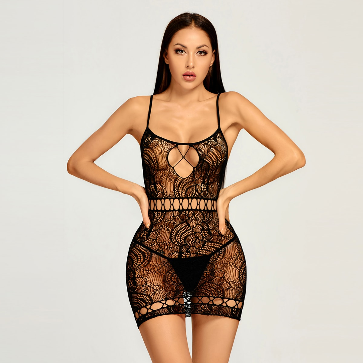 Floral Lace Cut Out Sheer Slips, SHEIN  - buy with discount
