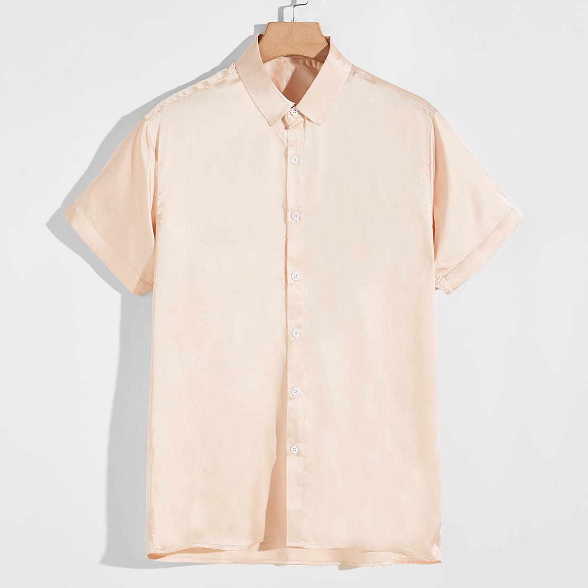 Пуговица Одноцветный Вечеринка Мужские рубашки