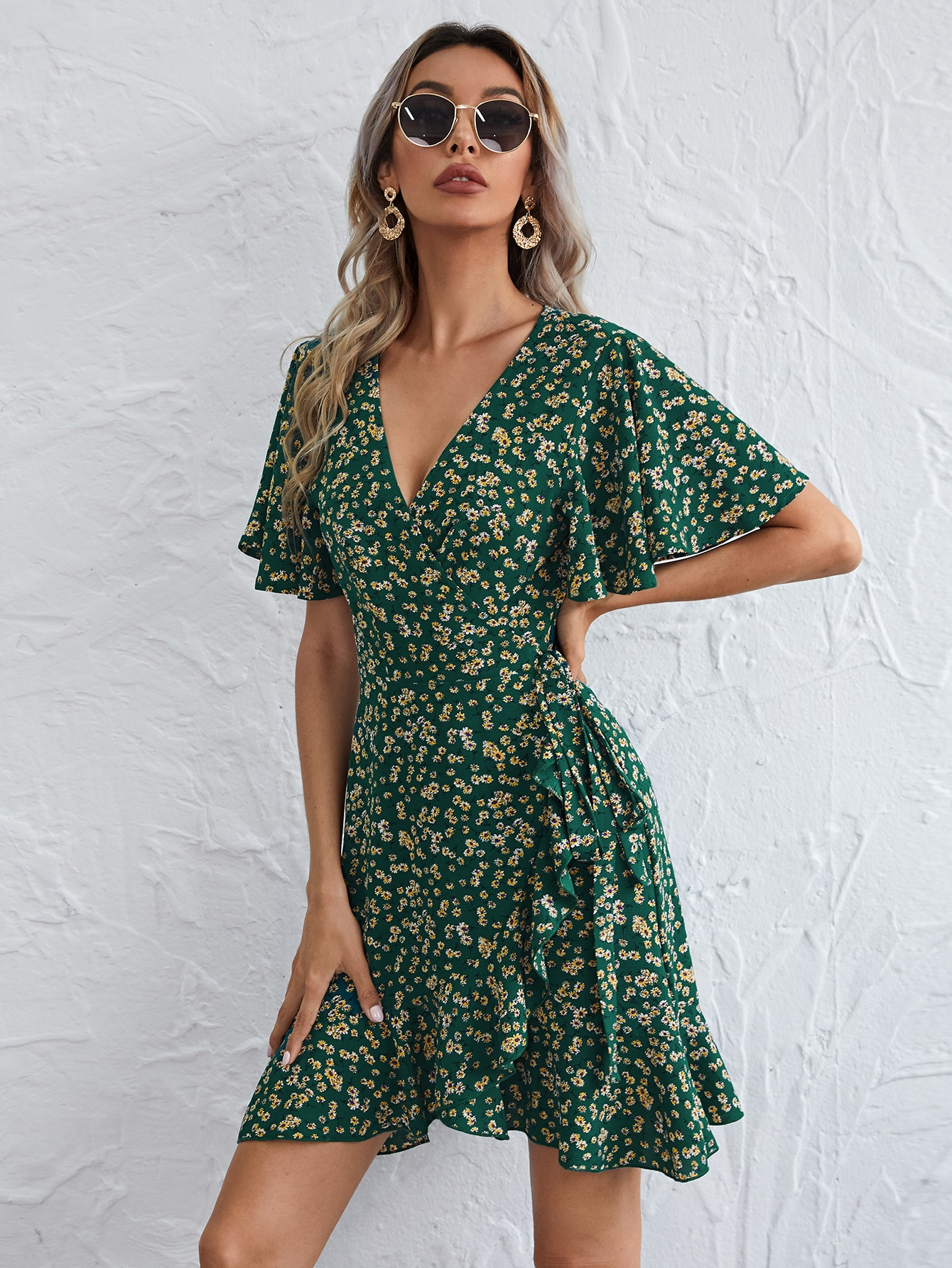 Flutter Sleeve Wrap Tie Front Ditsy Floral Dress thumbnail
