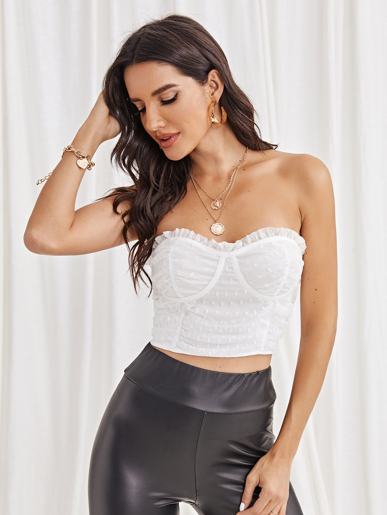 Frill Trim Ruched Mesh Bustier Tube Top thumbnail