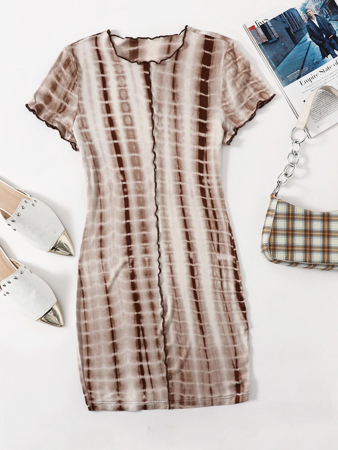 Contrast Stitch Tie Dye Bodycon Dress thumbnail