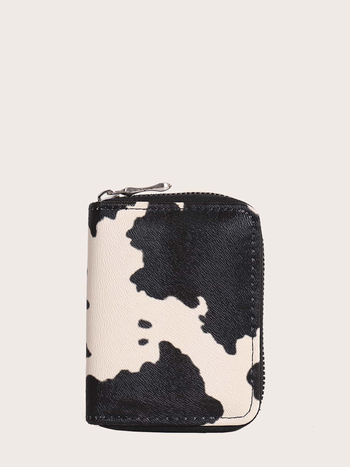 Cow Pattern Zip Around Small Wallet thumbnail