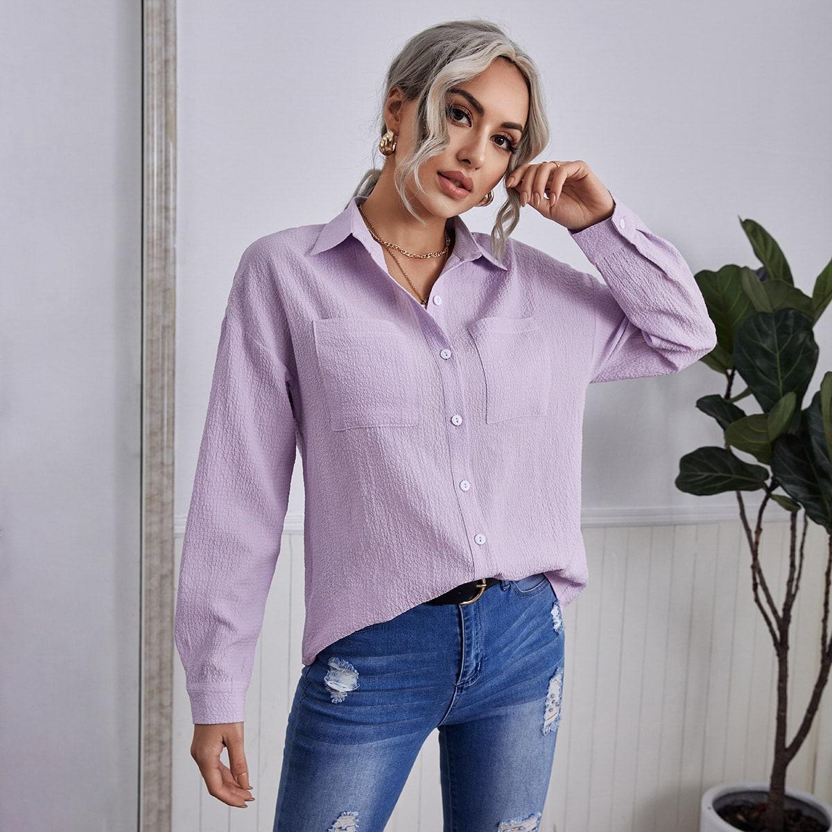 Карман Одноцветный Повседневный Блузы