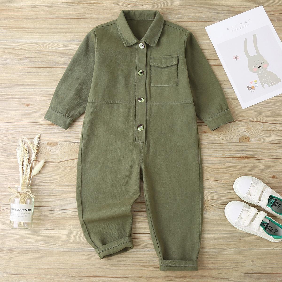 Toddler Boys Flap Pocket Button Front Shirt Jumpsuit