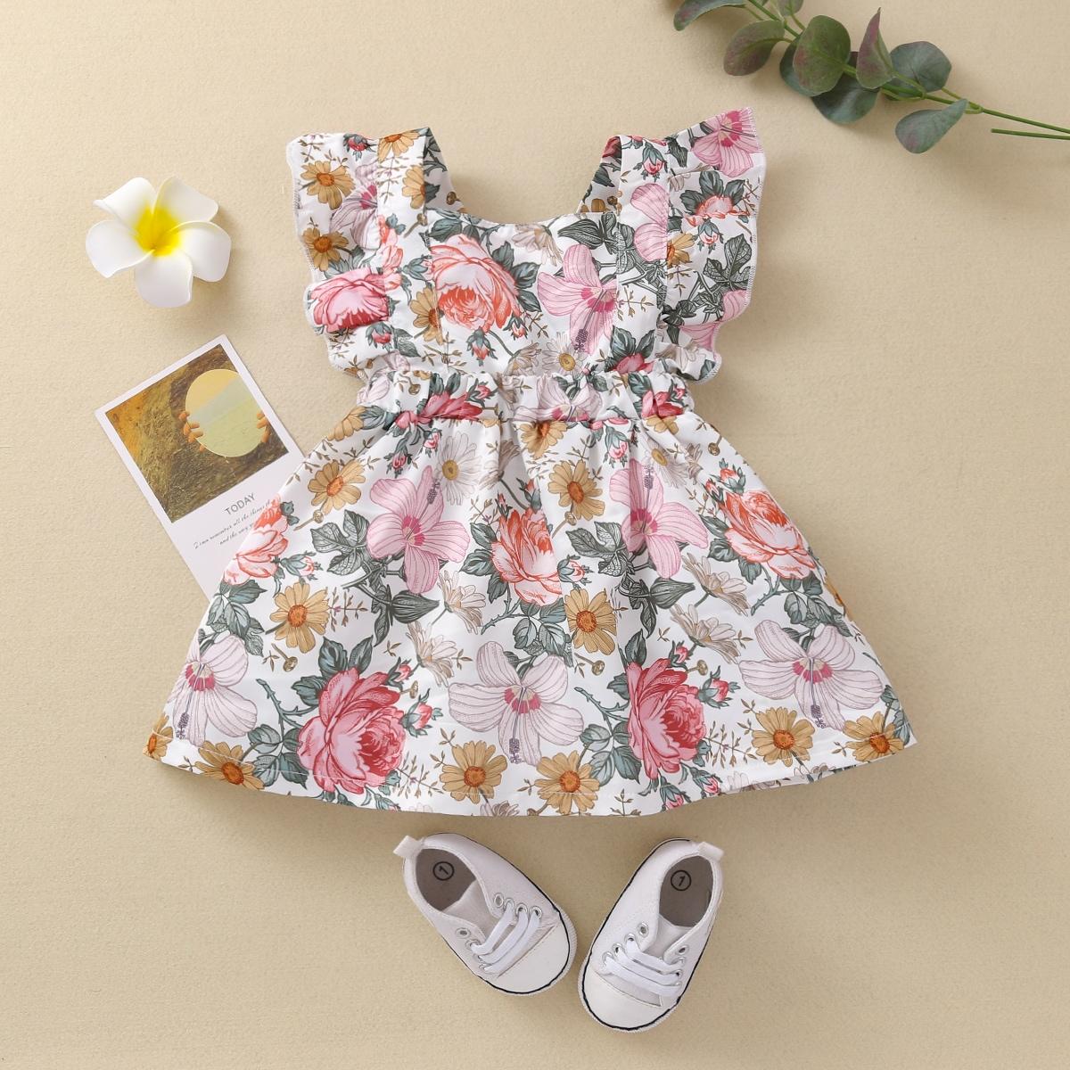 shein Boho Bloemen Baby-jurk Rimpeling