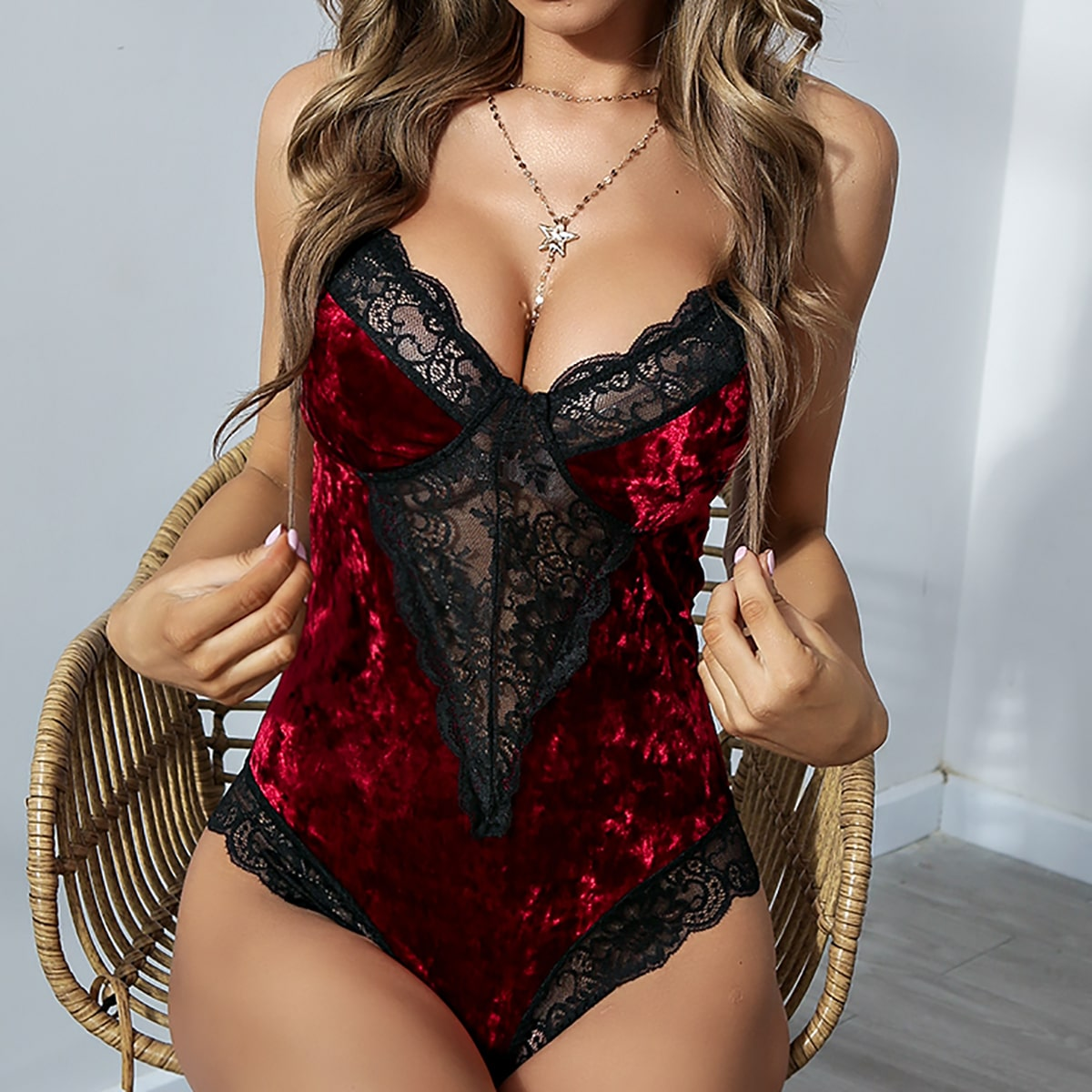 Contrast Lace Velvet Teddy Bodysuit, SHEIN  - buy with discount
