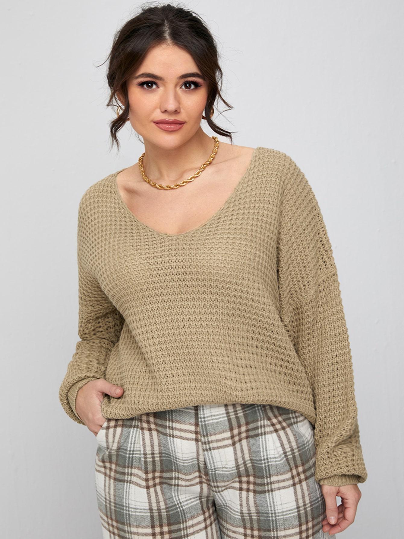 Plus V-Neck Drop Shoulder Sweater