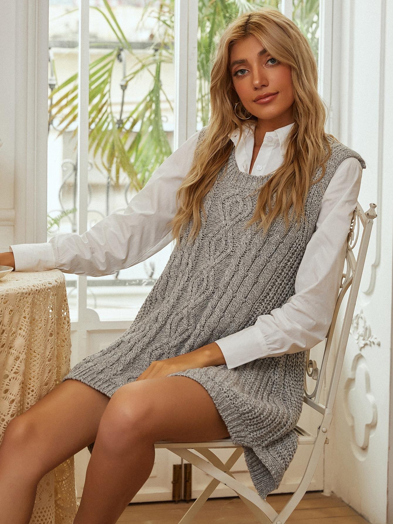 Cable Knit High Low Hem Sweater Vest thumbnail