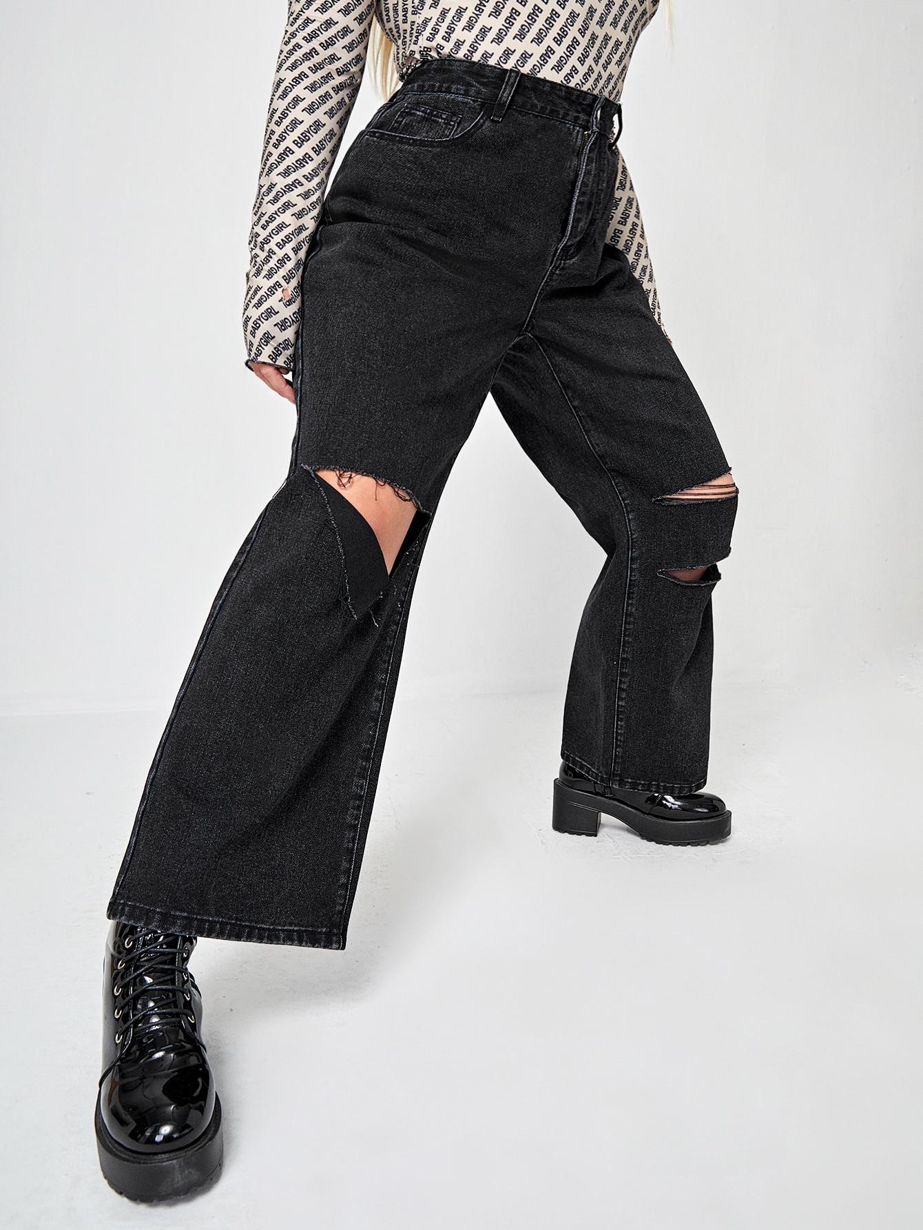 Plus High Waist Ripped Detail Wide Leg Jeans thumbnail