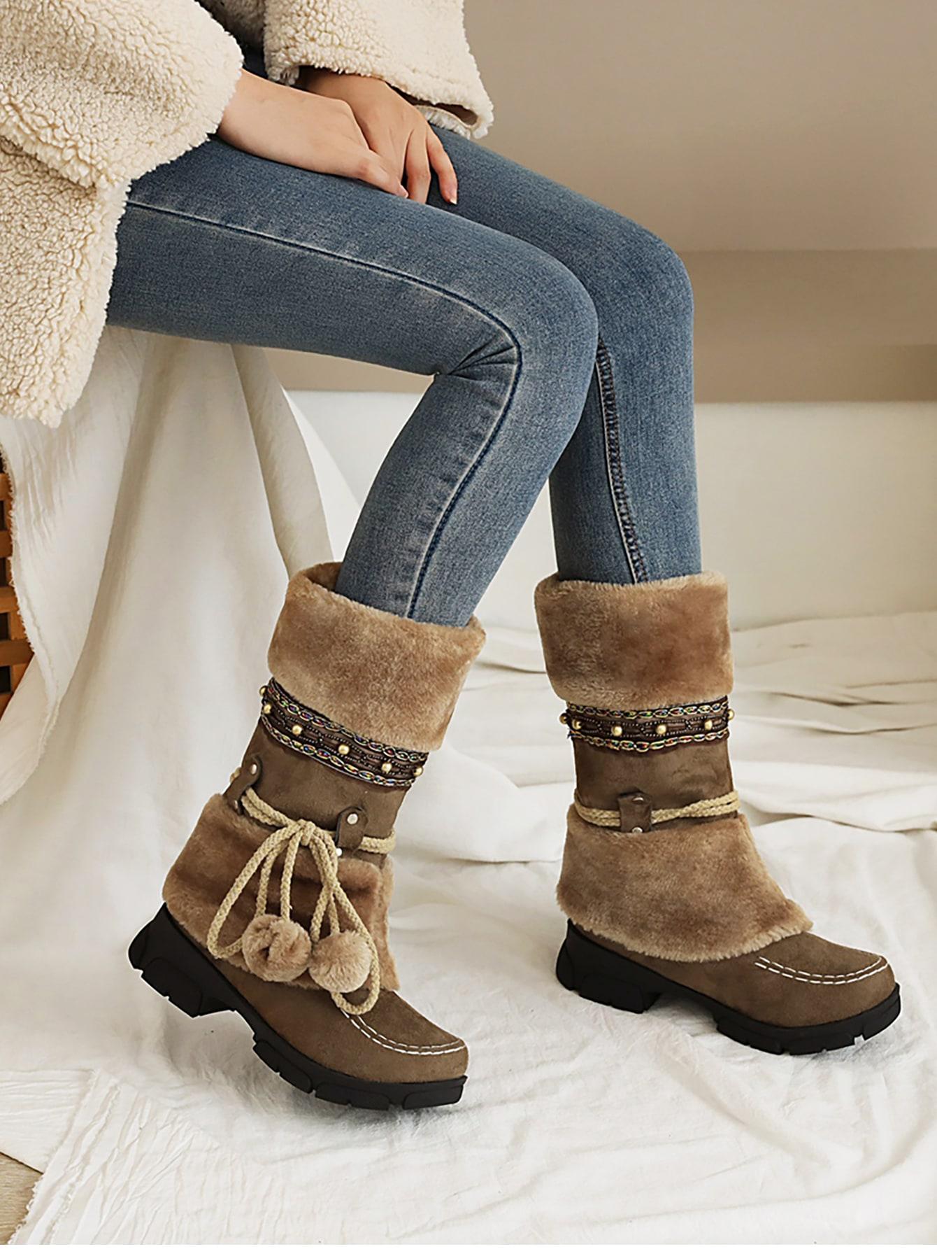 Fuzzy Trim Beaded Decor Snow Boots