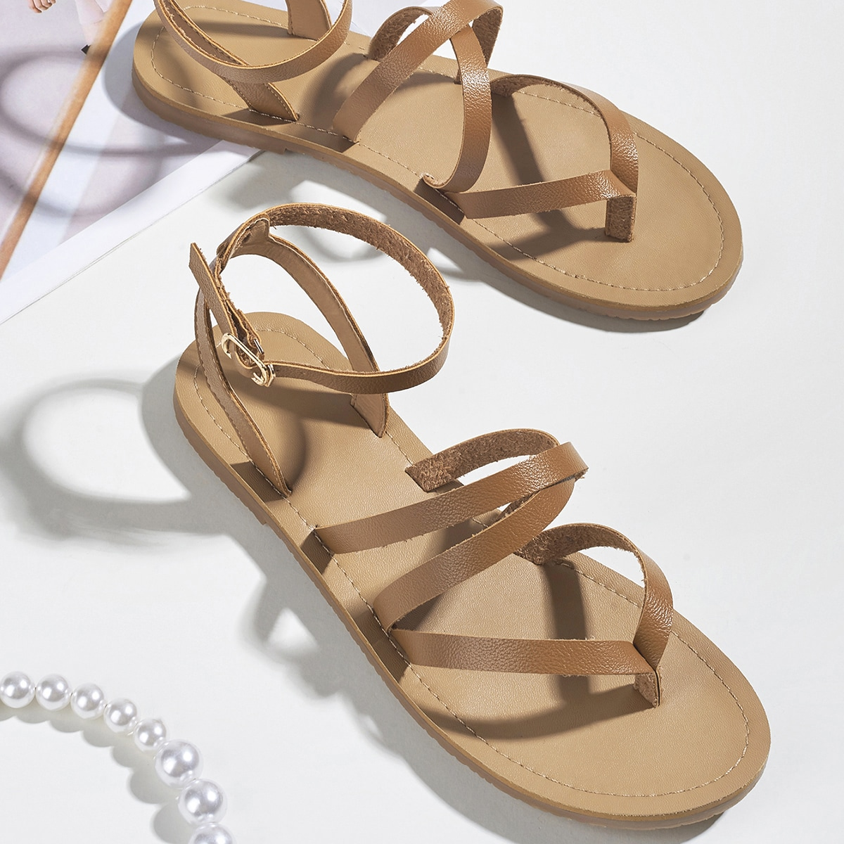 SHEIN / Toe Post Ankle Strap Strappy Sandals