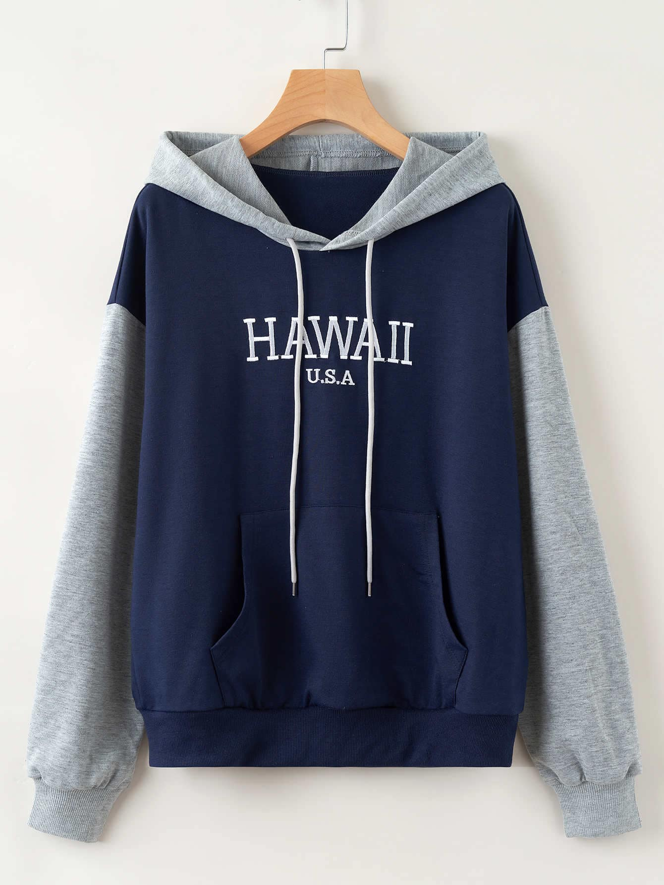 Plus Letter Embroidery Colorblock Hoodie thumbnail