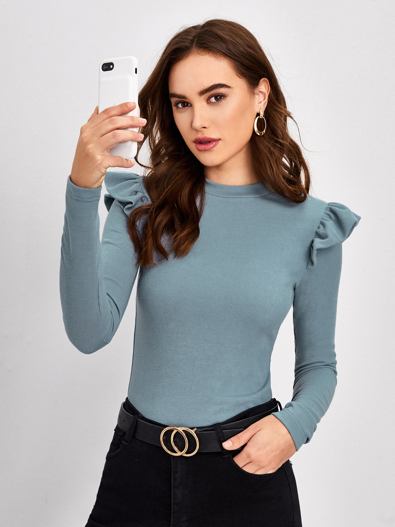 Ruffle Armhole Form Fitted Solid Tee thumbnail