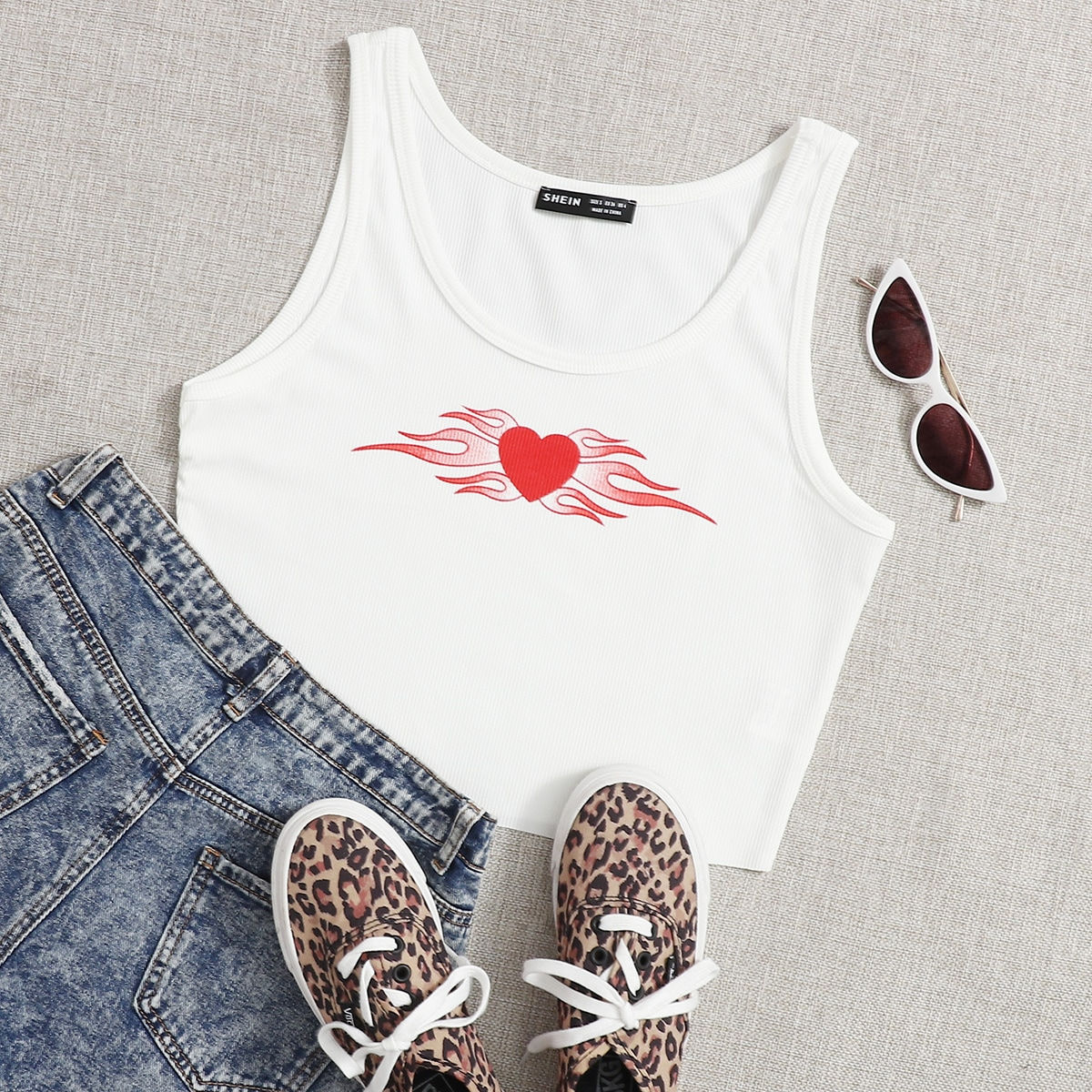 Plus Heart And Fire Print Crop Tank Top, SHEIN  - buy with discount