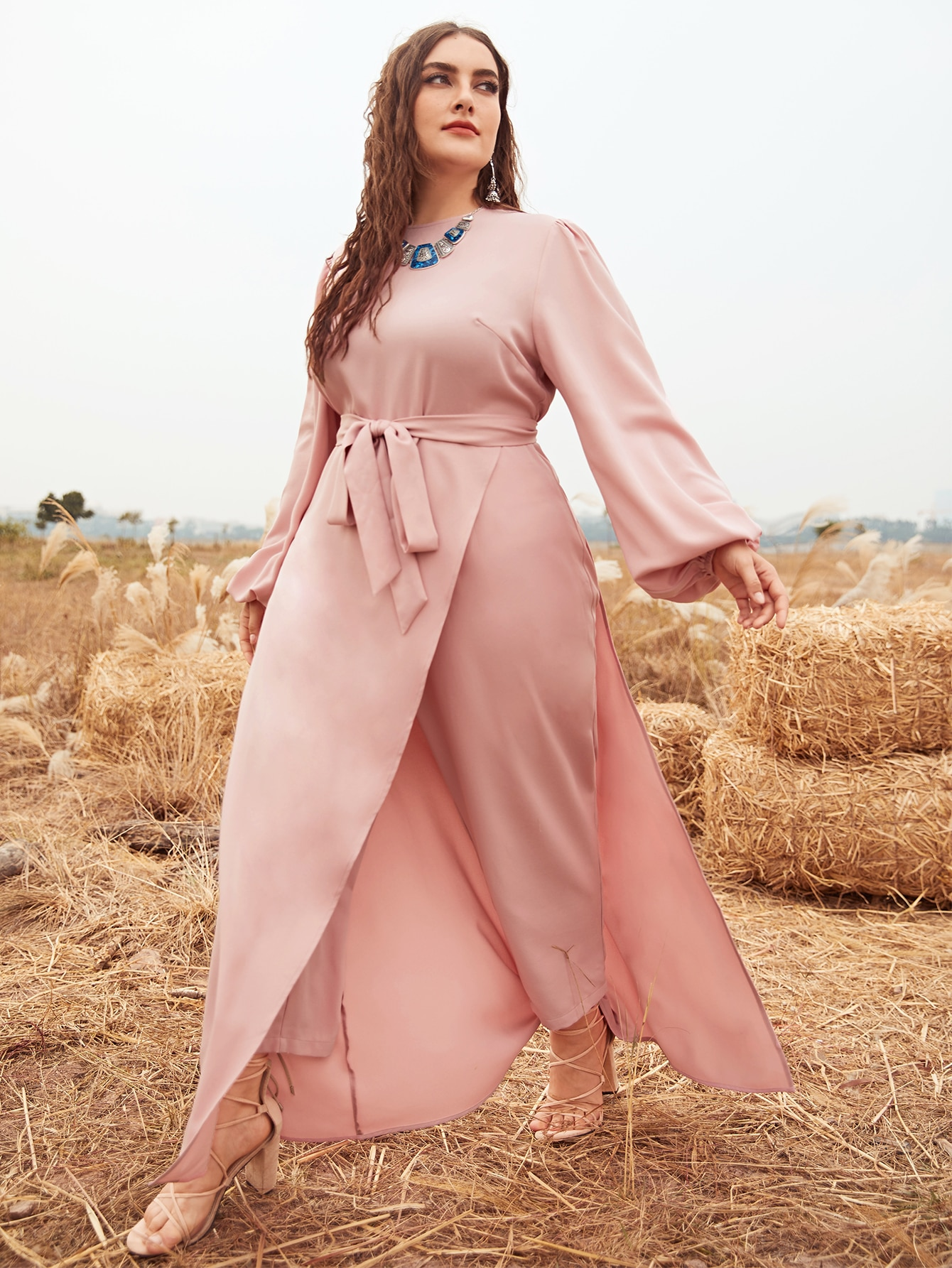Plus Lantern Sleeve Solid Belted Jumpsuit With Dress thumbnail
