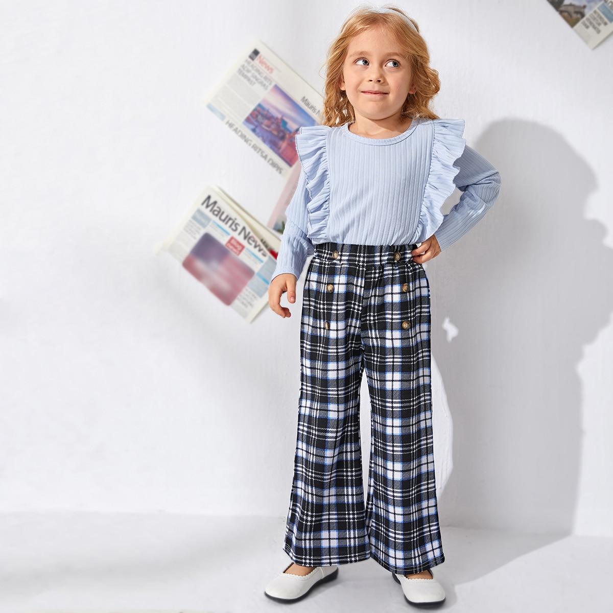 Двубортные брюки-клеш в клетку для девочек