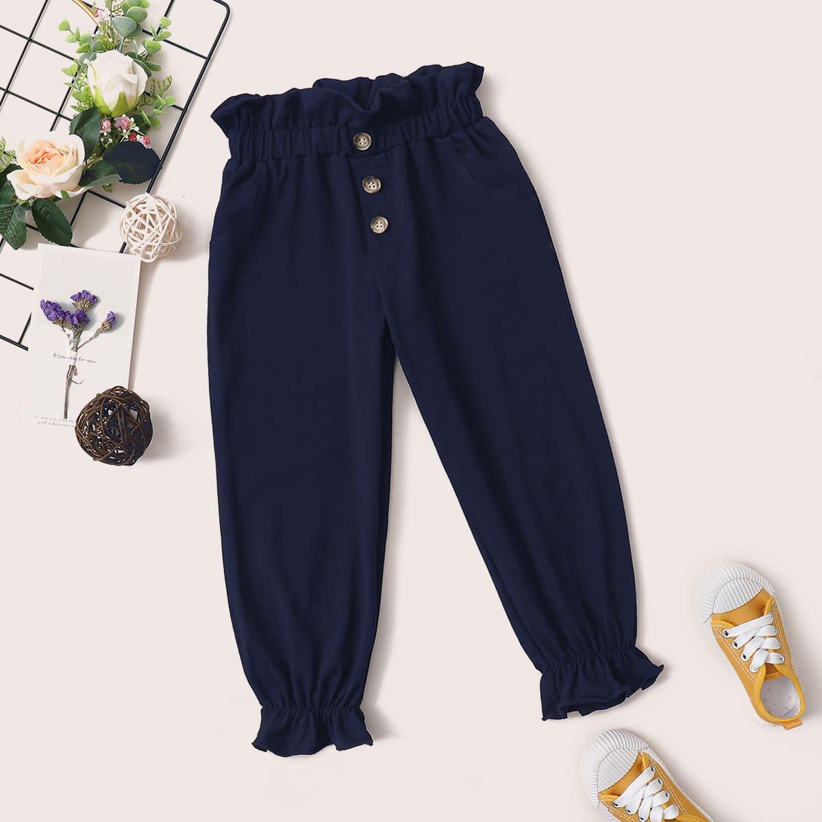 С оборками одноцветный повседневный брюки для маленьких девочек