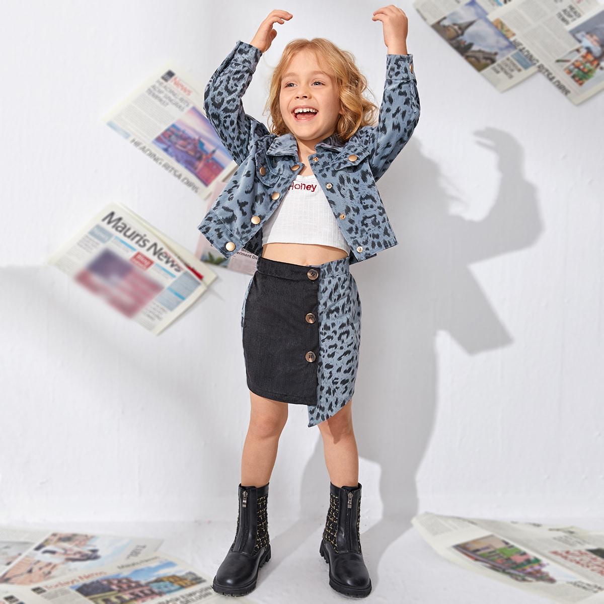 Асимметричный контрастный цвет повседневный юбки для девочек