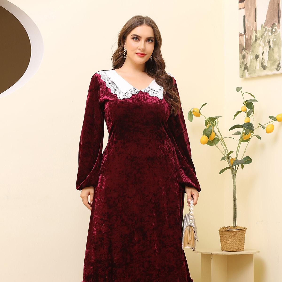 С оборками Контрастный цвет Элегантный Платья размер плюс