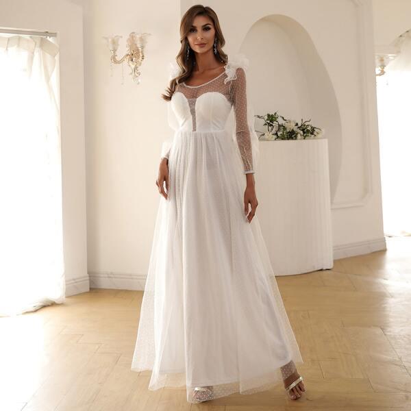 Low Back Ruffle Trim Dobby Mesh Overlay Prom Dress, White