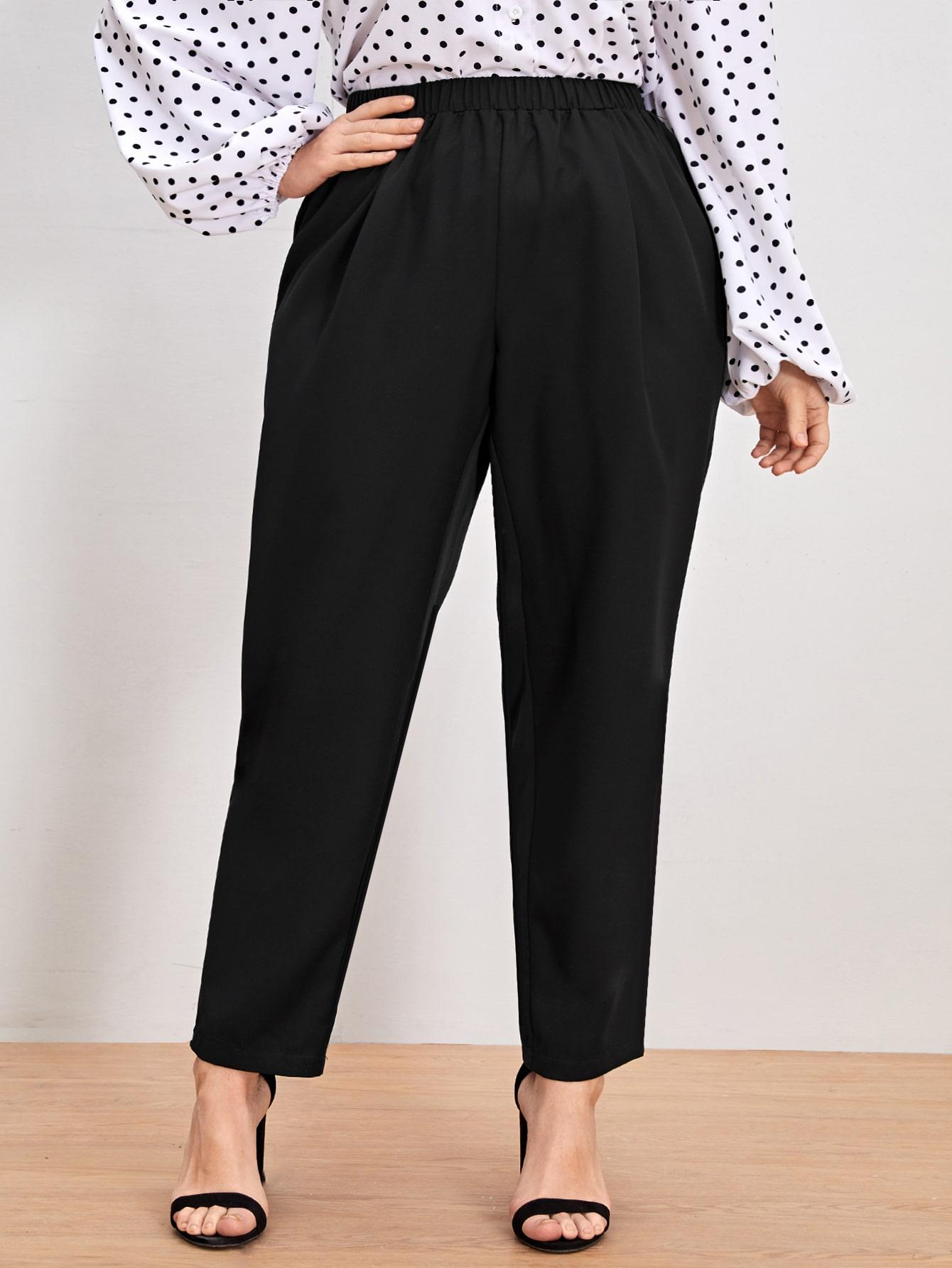 Plus Solid Elastic Waist Pants thumbnail