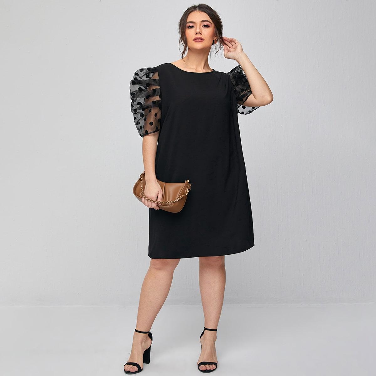 Контрастная сетка В горошек Элегантный Платья размер плюс