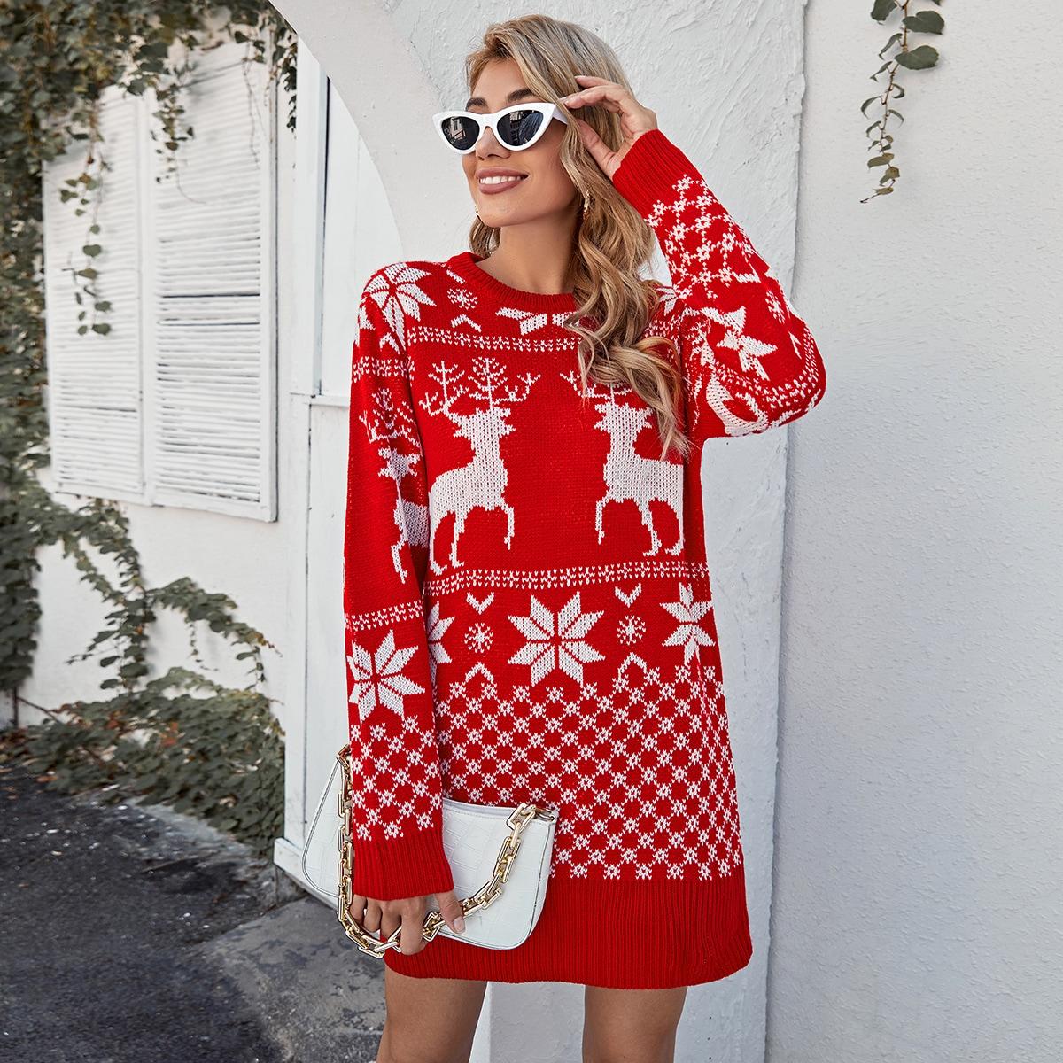 Рождество Повседневный Платья-свитеры