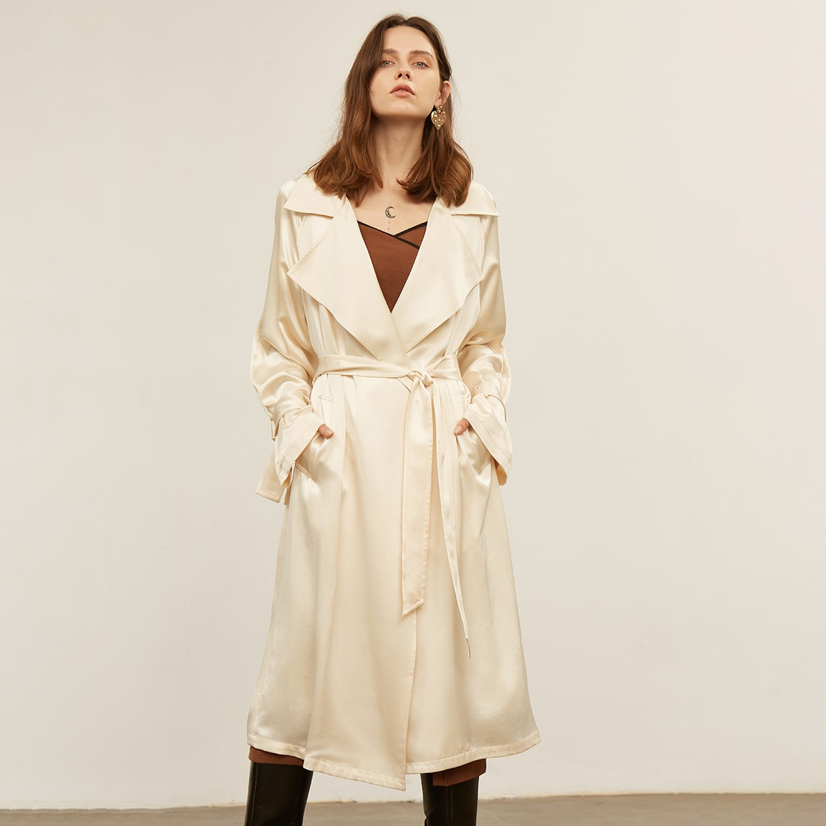 ACETIC ACID BELTED TRENCH COAT