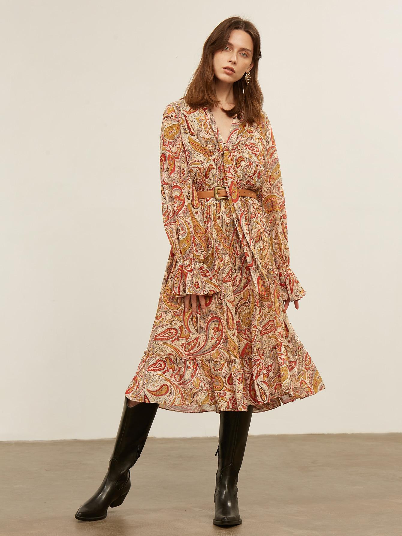 PAISLEY TIE NECK SMOCK DRESS WITHOUT BELT thumbnail