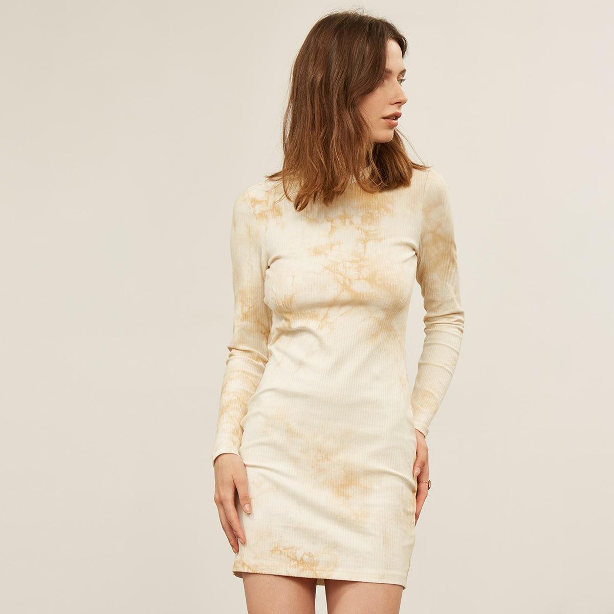 Платье из хлопка в рубчик с принтом тай дай