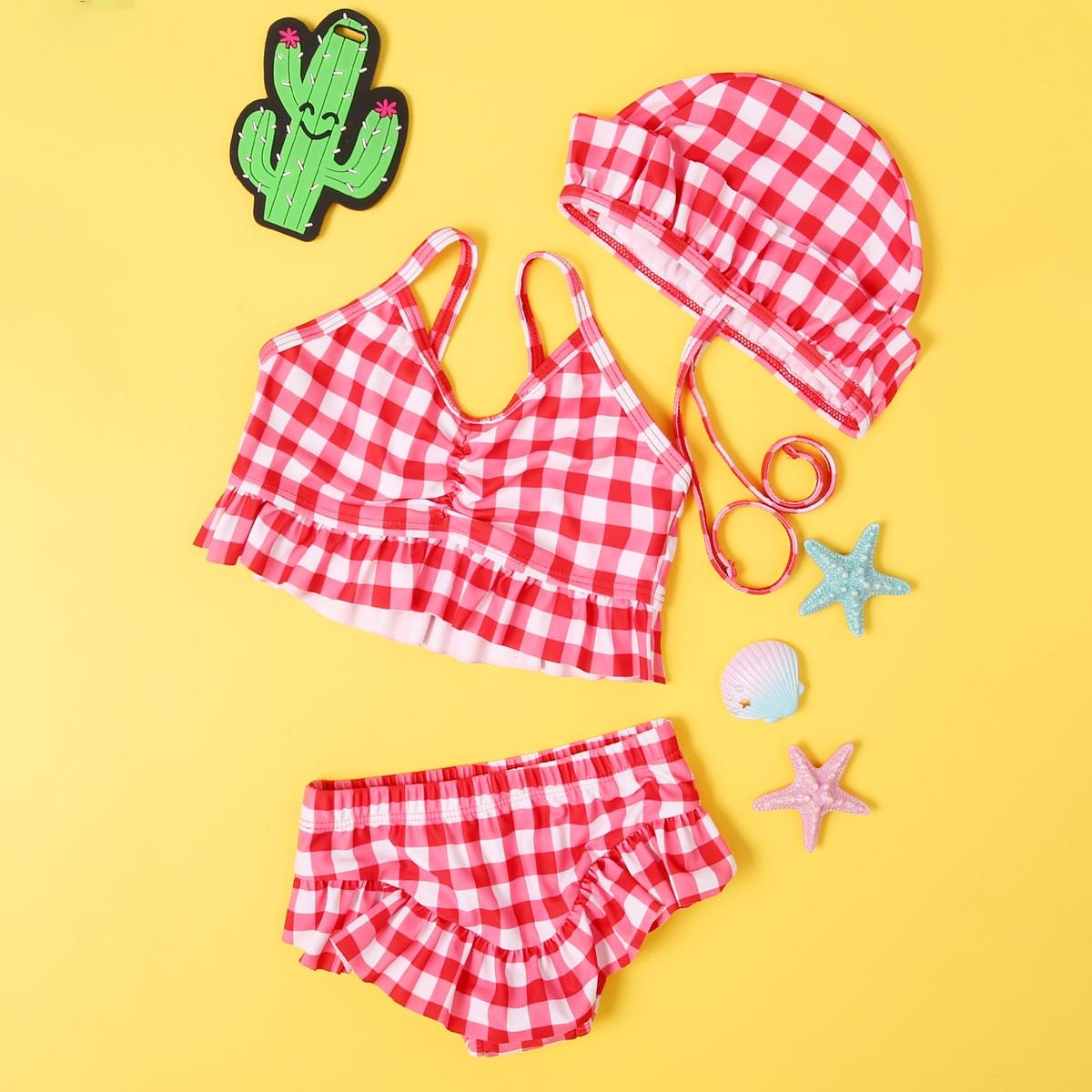 Bikini mit Karo Muster & Hut