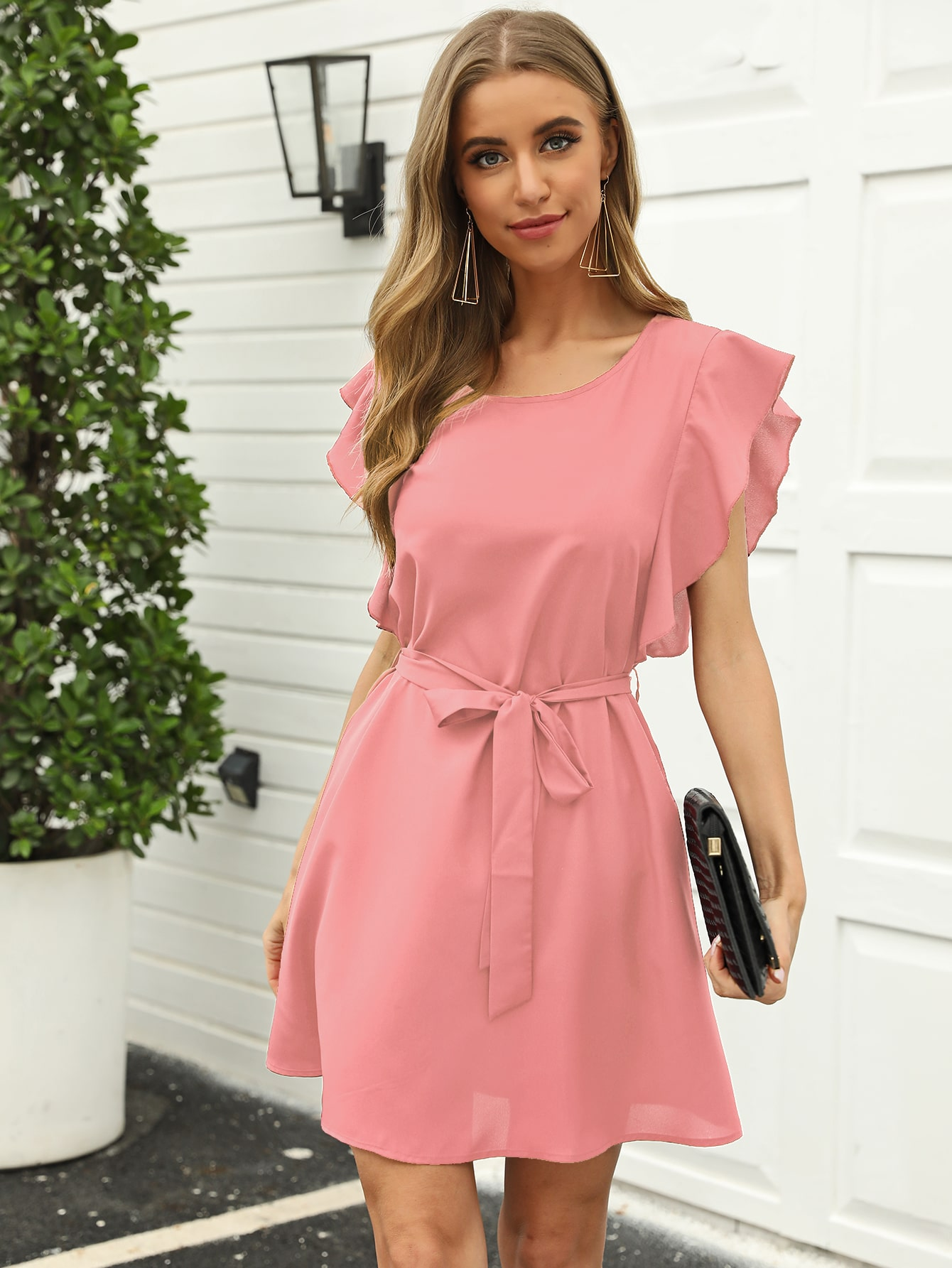 Butterfly Sleeve Belted Solid Dress thumbnail