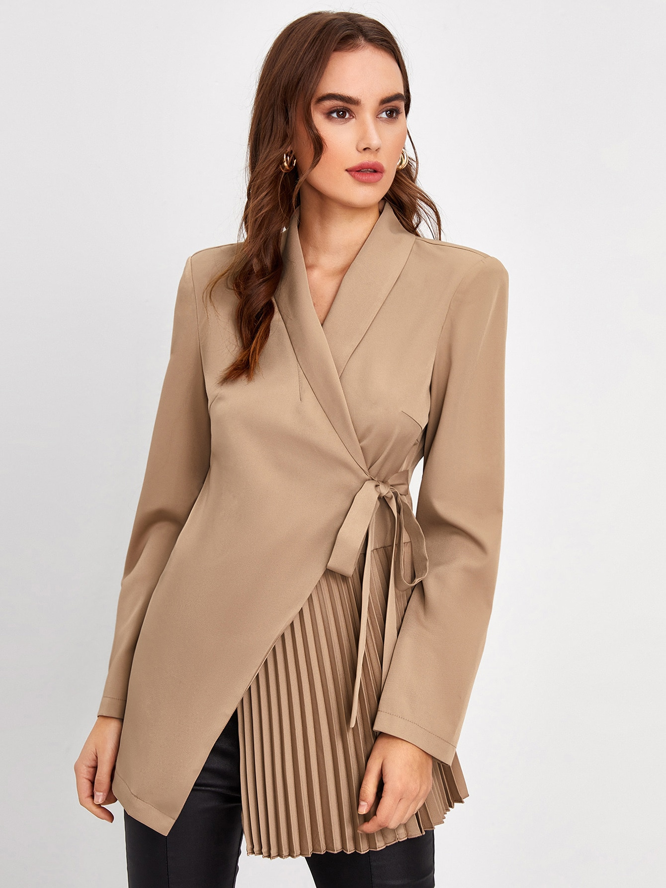 Padded Shoulder Pleated Knot Detail Blazer thumbnail