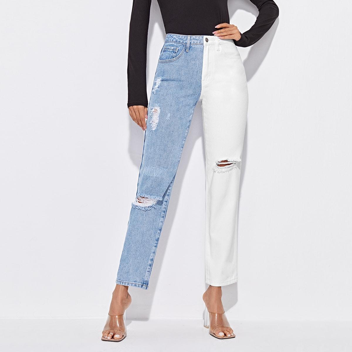 Двухцветные рваные прямые джинсы