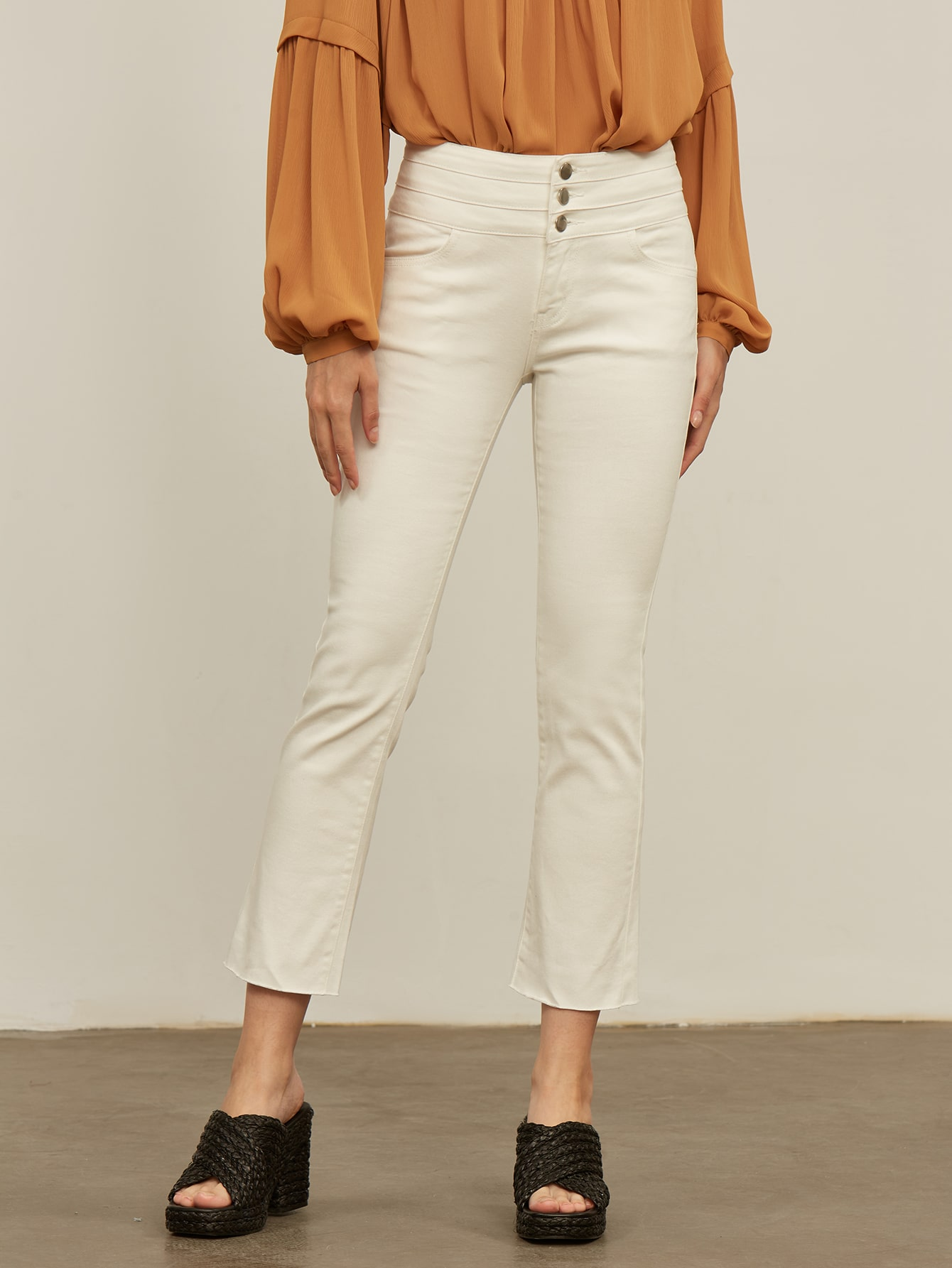 BUTTON FLY CROPPED BOOTCUT JEANS thumbnail